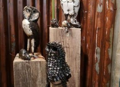 Decorative accessories - OWL AND OWLS MADE OF RECYCLED METAL - TERRE SAUVAGE