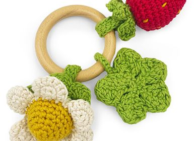 Toys - SPRING - TEETHER & RATTLE 100% ORGANIC COTON - MYUM - THE VEGGY TOYS