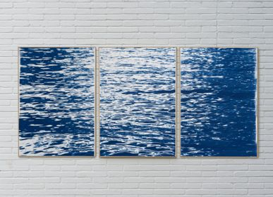 Art photos - Moonlight Ripples over Lake Como, 100x210cm Cyanotype Triptych - KIND OF CYAN