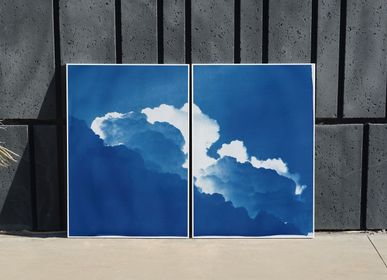 Art photos - Yves Klein Clouds, 100x140cm Cyanotype Diptych - KIND OF CYAN