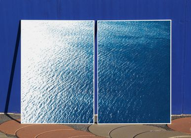 Art photos - Smooth Bay in the Mediterranean, 100x140cm Cyanotype Diptych - KIND OF CYAN