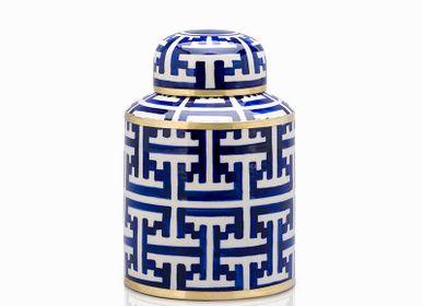 Hotel rooms - Thaniya Handpaint Ceramic Ginger Jar size XS Canister - THANIYA