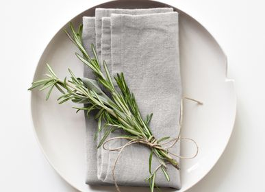 Napkins - Silver washed linen napkins, set of 2 - LINEN TALES