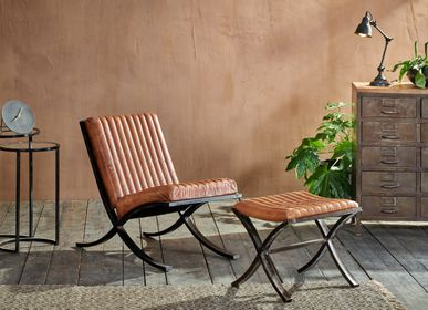 Chairs - Narwana Ribbed Leather Lounger - NKUKU