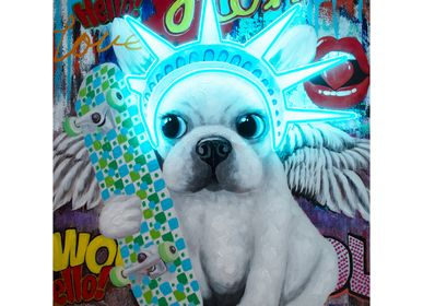 Paintings - 'Liberty Dog' Wall Artwork - LED Neon - LOCOMOCEAN
