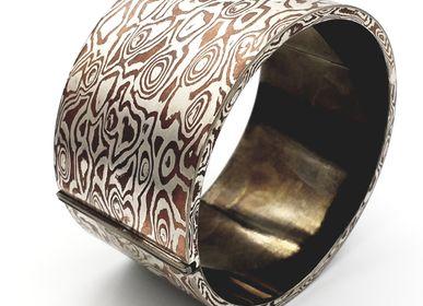 Bijoux - Mokume Gane jonc plat rond creux, argent et cuivre - PONK SMITHI