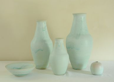 Ceramic - Vases and bowl in high-fired stoneware, turquoise glaze - CHRISTIANE PERROCHON