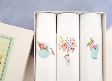 Scarves - Handkerchiefs - set of three embroidered ladies handkerchiefs - TAMIELLE HANDKERCHIEFS