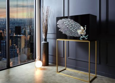 Work stations - BLACK PEACOCK, Mother of Pearl Cabinet with Golden Leg - ARIJIAN