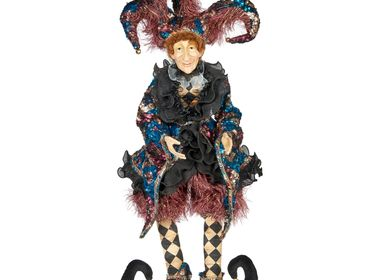 Christmas decoration - SEQ.JOINTED JESTER DOLL W/BOX PRPL/BLK 85CM - GOODWILL M&G