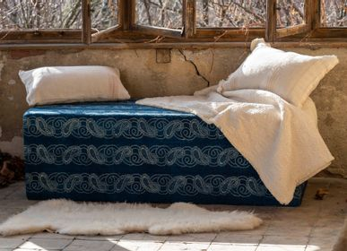 Ottomans - Ottoman: Wax resist indigo on handwoven antique Hungarian hemp - LINEAGE BOTANICA - THE ART OF WELLBEING