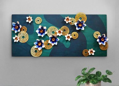Wall decoration - Lotus Pond Wall Mural in Enamelled Copper - BAAYA GLOBAL