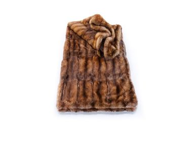 Throw blankets - plaid; sable/100% cashmere lining; nature; brown nature; 130x180 cm - KATRIN LEUZE -COLLECTION-