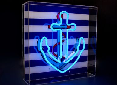 Decorative objects - 'Anchor' Large Acrylic Box Neon Light with Graphic - LOCOMOCEAN