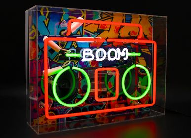 Decorative objects - 'Boom Box' Large Acrylic Box Neon Light with Graphic - LOCOMOCEAN