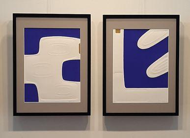 Tableaux - Gravure et gaufrage 45 cm x 60 cm bleu - FOUCHER-POIGNANT