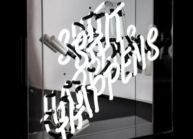 Desk lamps - 'Shit Happens' Large Acrylic Box Neon Light - LOCOMOCEAN