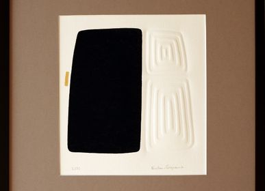 Cadres - Engraving and embossing 40 cm x 40 cm black - FOUCHER-POIGNANT