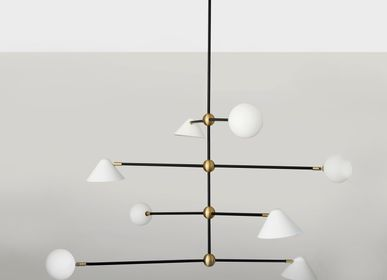 Decorative objects -  BALL AND SHADE – PENDANT LIGHT - SQUARE IN CIRCLE STUDIO