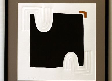 Paintings - Engraving and embossing 65 cm x 65 cm black - FOUCHER-POIGNANT