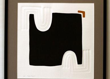 Tableaux - Gravure et gaufrage 65 cm x 65 cm noir - FOUCHER-POIGNANT