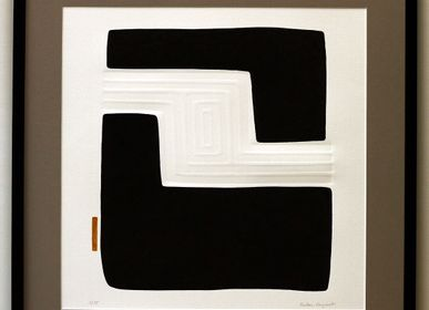 Paintings - Engraving and embossing 65 cm x 65 cm black, engraving and embossing 65 cm x 65 cm black, - FOUCHER-POIGNANT