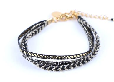 Jewelry - Black Triple Fabric Bracelet - LITCHI