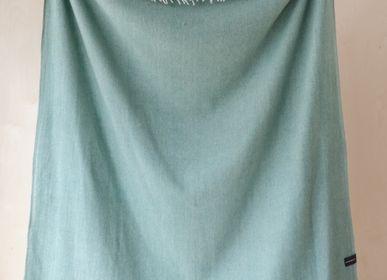 Throw blankets - Recycled Wool Blanket in Pistachio Herringbone - THE TARTAN BLANKET CO.