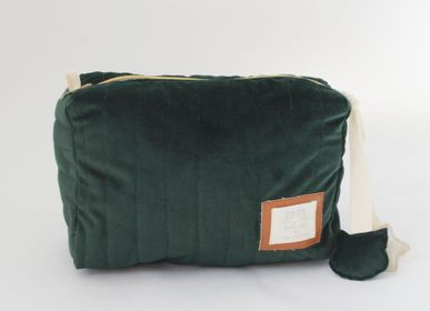 Bags and totes - GREEN VELVET TOILETRY BAG - PETIT ALO