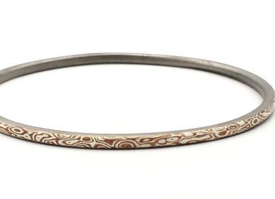 Bijoux - Bracelet jonc rond Mokume Gane Stack, argent et cuivre - PONK SMITHI