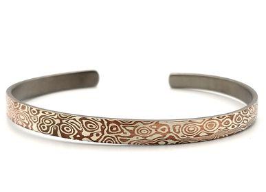 Bijoux - Mokume Gane The ONE Bracelet jonc, argent et cuivre 6mm - PONK SMITHI