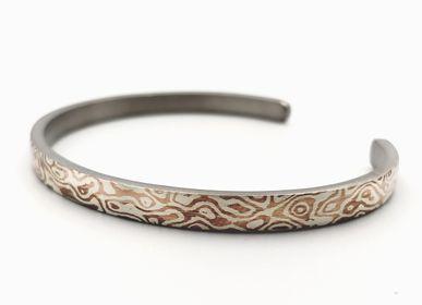 Bijoux - Mokume Gane The ONE Bracelet jonc, argent et cuivre 4 mm - PONK SMITHI