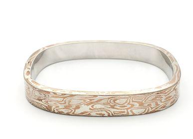 Bijoux - Mokume Gane creux rond jonc plat, argent et cuivre - PONK SMITHI