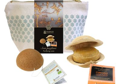"""Gifts - Konjac and ayurveda gift wellness pouches, """"Tumerci purifying care"""" - KARAWAN AUTHENTIC"""