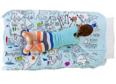 Bed linens - colour & learn world map duvet (twin) - EATSLEEPDOODLE