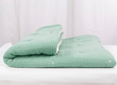Comforters, pillows - TURQUOISE GREEN MUSLIN BEDSPREAD - PETIT ALO