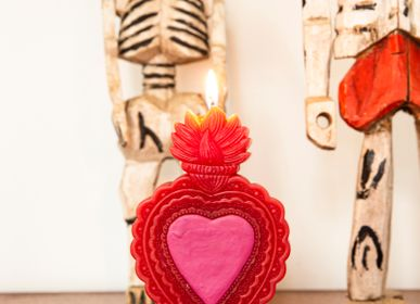 Decorative objects - Candle Milagro Heart pink, blue & red - KITSCH KITCHEN