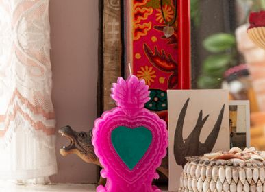 Decorative objects - Shaped Candle Milagro Heart pink, blue & red - KITSCH KITCHEN
