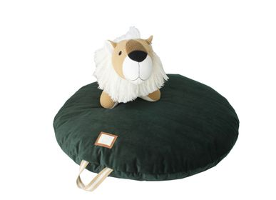 Children's bedrooms - CIRCULAR FLOOR CUSHION VELVET GREEN - PETIT ALO