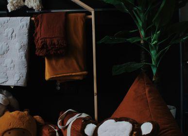Children's bedrooms - ORANGE VELVET FLOOR CUSHION PUFF - PETIT ALO