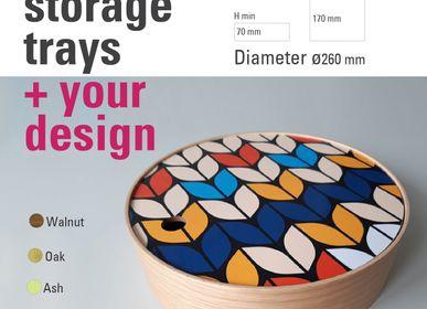 Coffret / boite - Plateaux de rangement ronds en bois avec votre design personnalisé - ATIYA TRAYS