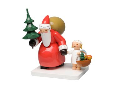 Christmas decoration - Santa Claus with Tree and Angel - WENDT & KUEHN