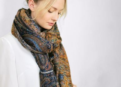 Scarves - MERVEILLE BLEU JEAN PLAID SCARF - PETRUSSE PARIS