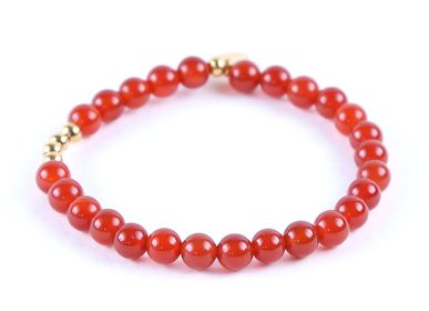 Jewelry - Bracelet 4 beads Stone and Gold  - LITCHI