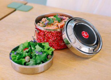 Platter, bowls - Boite repas flowers rouge  - QWETCH