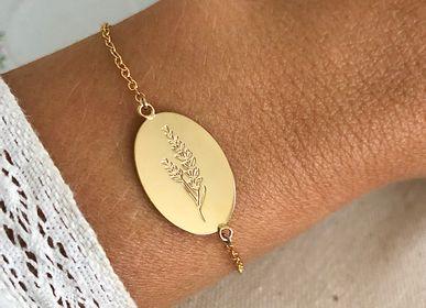 Bijoux - Bracelet médaille herbier de Provence lavande - JOUR DE MISTRAL