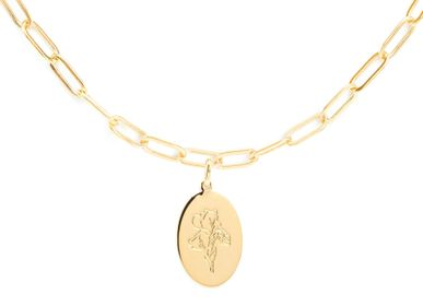 Jewelry - Gold link chain necklace medal herbarium - JOUR DE MISTRAL