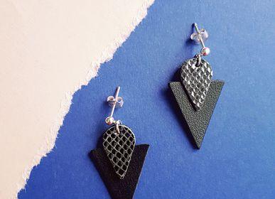 Bijoux - Puces d'oreilles Triangle en cuir - NI UNE NI DEUX BIJOUX