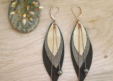 Jewelry - POP earrings in leather and fine stones - NI UNE NI DEUX BIJOUX