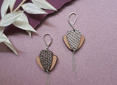 Jewelry - MAGNOLIA wooden and leather pendants - NI UNE NI DEUX BIJOUX